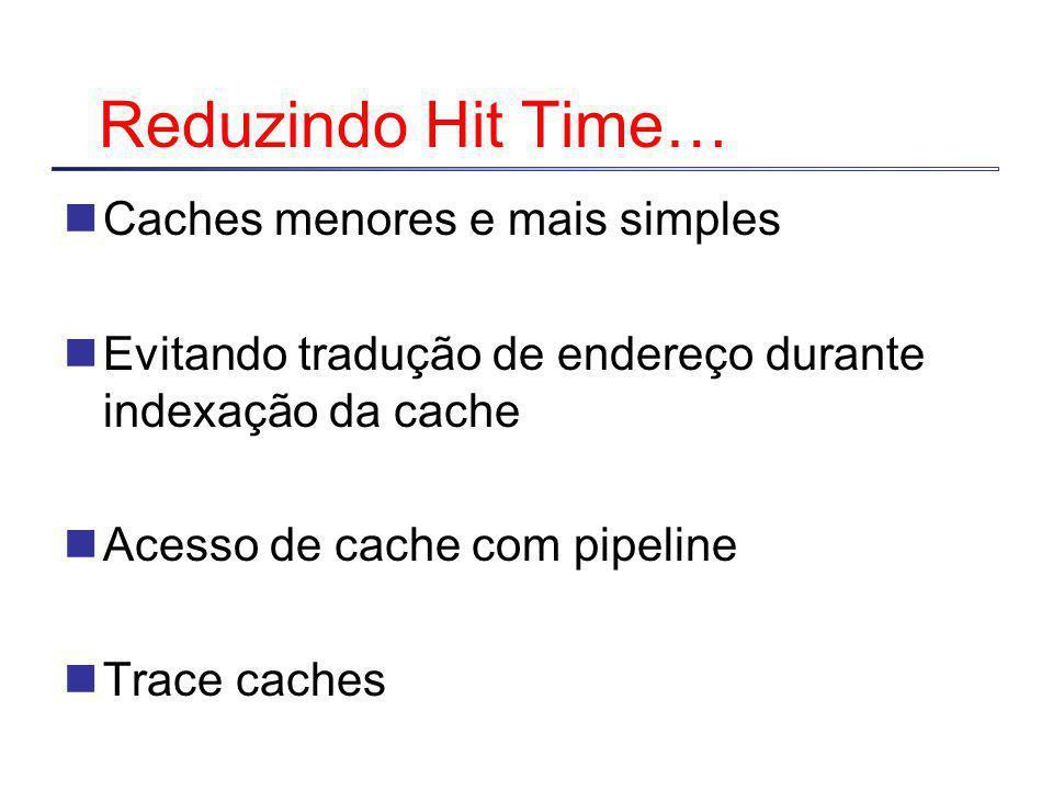 Reduzindo Hit Time… Caches menores e mais simples Evitando tradução de endereço durante indexação da cache Acesso de cache com pipeline Trace caches