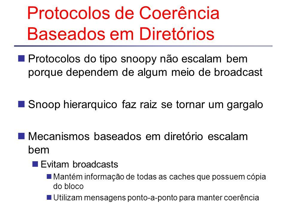Protocolos de Coerência Baseados em Diretórios Protocolos do tipo snoopy não escalam bem porque dependem de algum meio de broadcast Snoop hierarquico