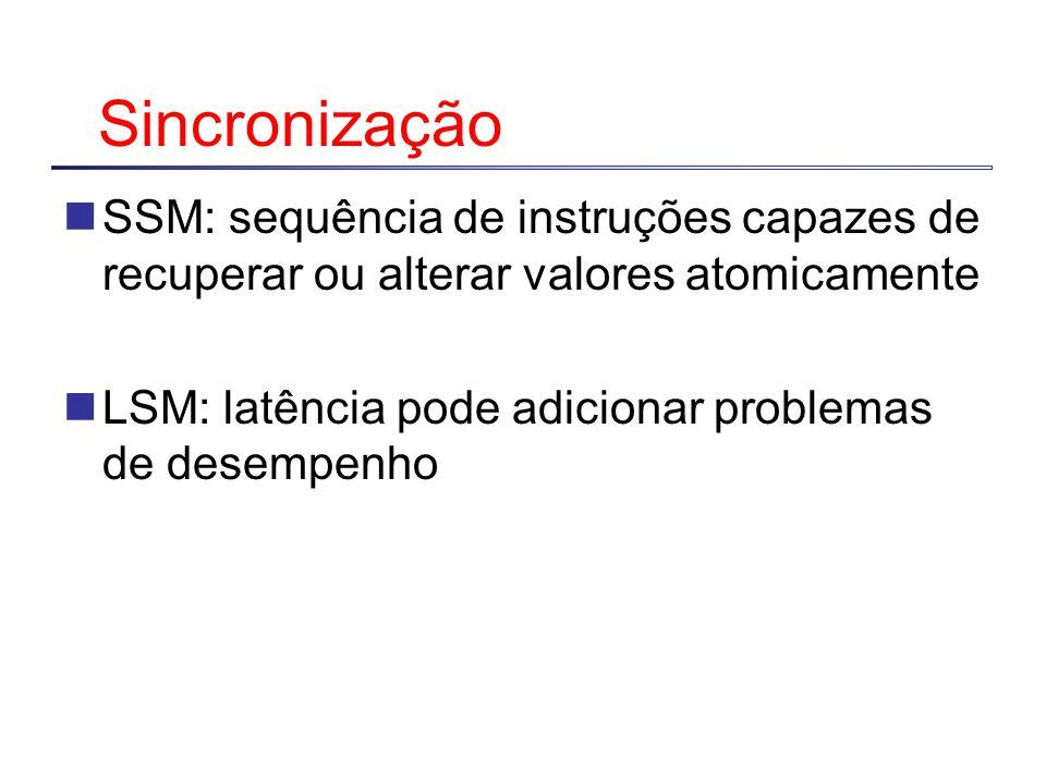 Sincronização SSM: sequência de instruções capazes de recuperar ou alterar valores atomicamente LSM: latência pode adicionar problemas de desempenho