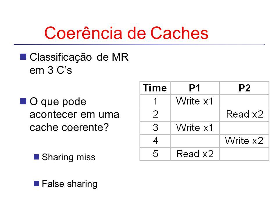 Estados Shared: um ou mais processadores possuem o bloco cached, e o bloco na memória é atualizado Invalid ou Uncached: nenhum processador possui uma cópia do bloco Exclusivo: um único processador possui uma cópia do bloco