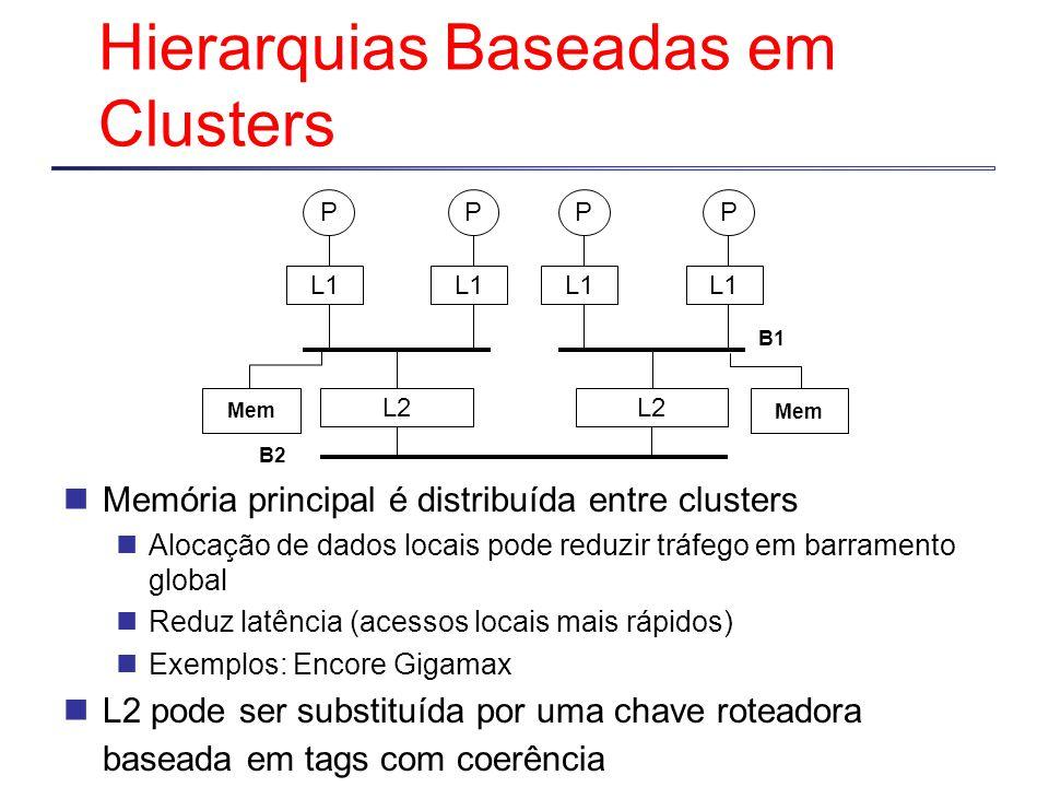 L1 P P L2 L1 P P L2 Mem B2 B1 Hierarquias Baseadas em Clusters Memória principal é distribuída entre clusters Alocação de dados locais pode reduzir tr