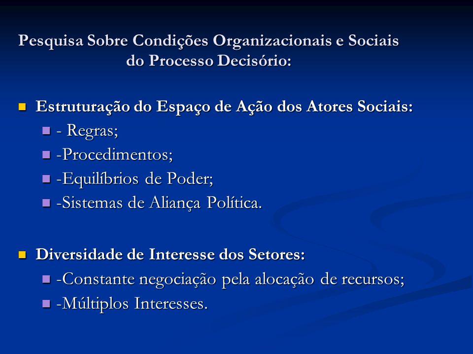 Pesquisa Sobre Condições Organizacionais e Sociais do Processo Decisório: Estruturação do Espaço de Ação dos Atores Sociais: Estruturação do Espaço de