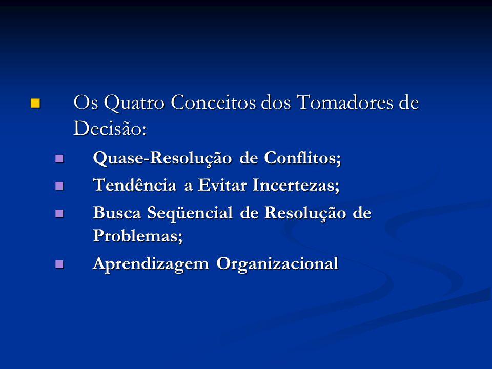 Os Quatro Conceitos dos Tomadores de Decisão: Os Quatro Conceitos dos Tomadores de Decisão: Quase-Resolução de Conflitos; Quase-Resolução de Conflitos