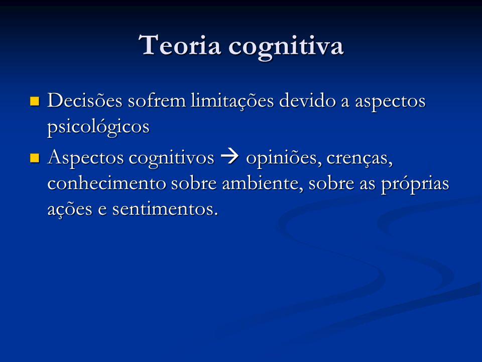 Teoria cognitiva Decisões sofrem limitações devido a aspectos psicológicos Decisões sofrem limitações devido a aspectos psicológicos Aspectos cognitiv