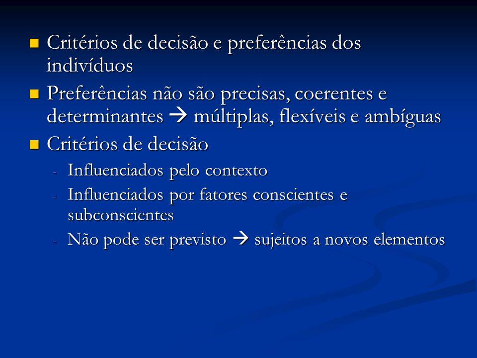 Critérios de decisão e preferências dos indivíduos Critérios de decisão e preferências dos indivíduos Preferências não são precisas, coerentes e deter