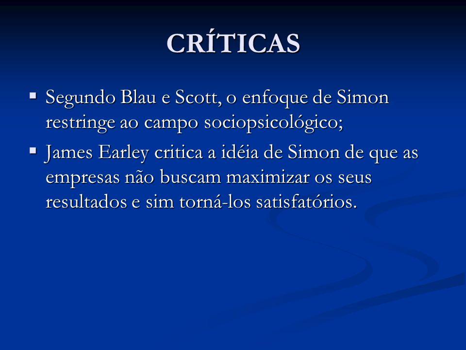 CRÍTICAS  Segundo Blau e Scott, o enfoque de Simon restringe ao campo sociopsicológico;  James Earley critica a idéia de Simon de que as empresas nã