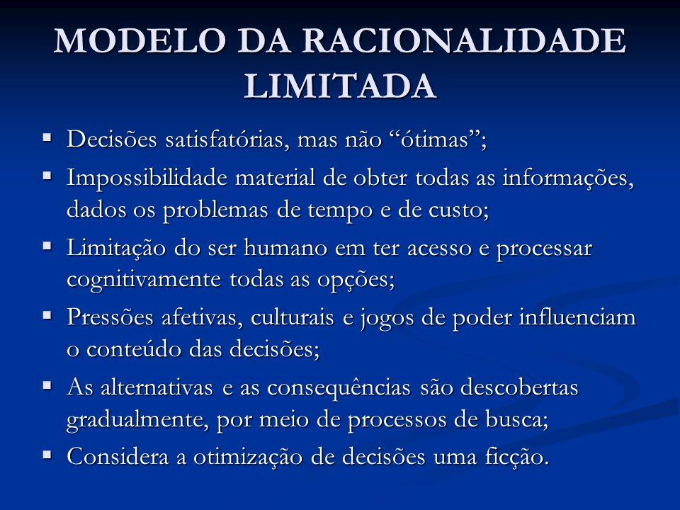 """MODELO DA RACIONALIDADE LIMITADA  Decisões satisfatórias, mas não """"ótimas"""";  Impossibilidade material de obter todas as informações, dados os proble"""