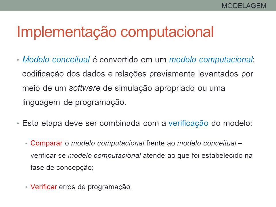 Implementação computacional Modelo conceitual é convertido em um modelo computacional: codificação dos dados e relações previamente levantados por mei
