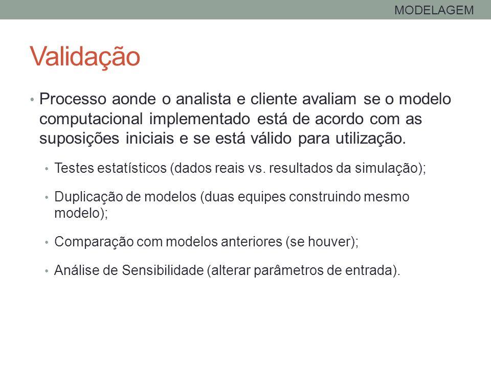 Validação MODELAGEM Processo aonde o analista e cliente avaliam se o modelo computacional implementado está de acordo com as suposições iniciais e se