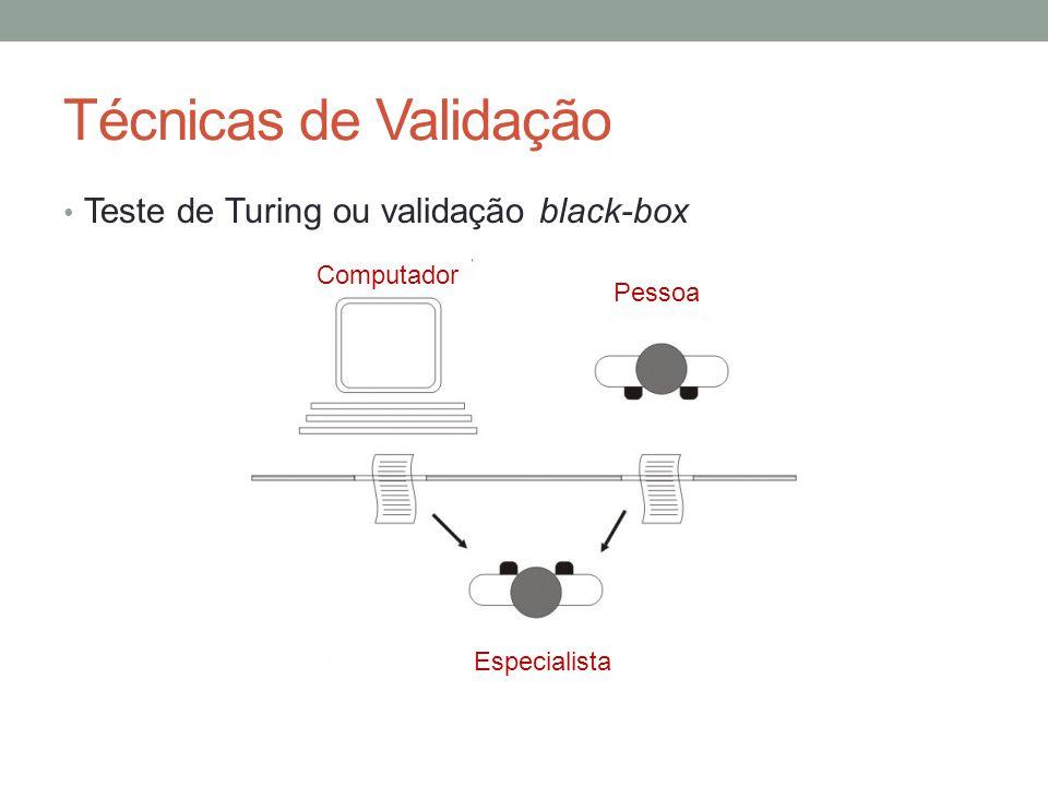 Técnicas de Validação Teste de Turing ou validação black-box Computador Pessoa Especialista