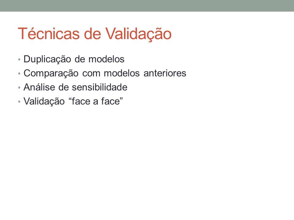 """Técnicas de Validação Duplicação de modelos Comparação com modelos anteriores Análise de sensibilidade Validação """"face a face"""""""