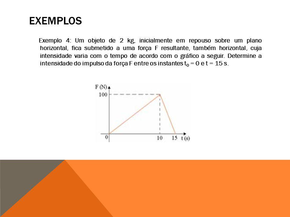 Exemplo 4: Um objeto de 2 kg, inicialmente em repouso sobre um plano horizontal, fica submetido a uma força F resultante, também horizontal, cuja intensidade varia com o tempo de acordo com o gráfico a seguir.