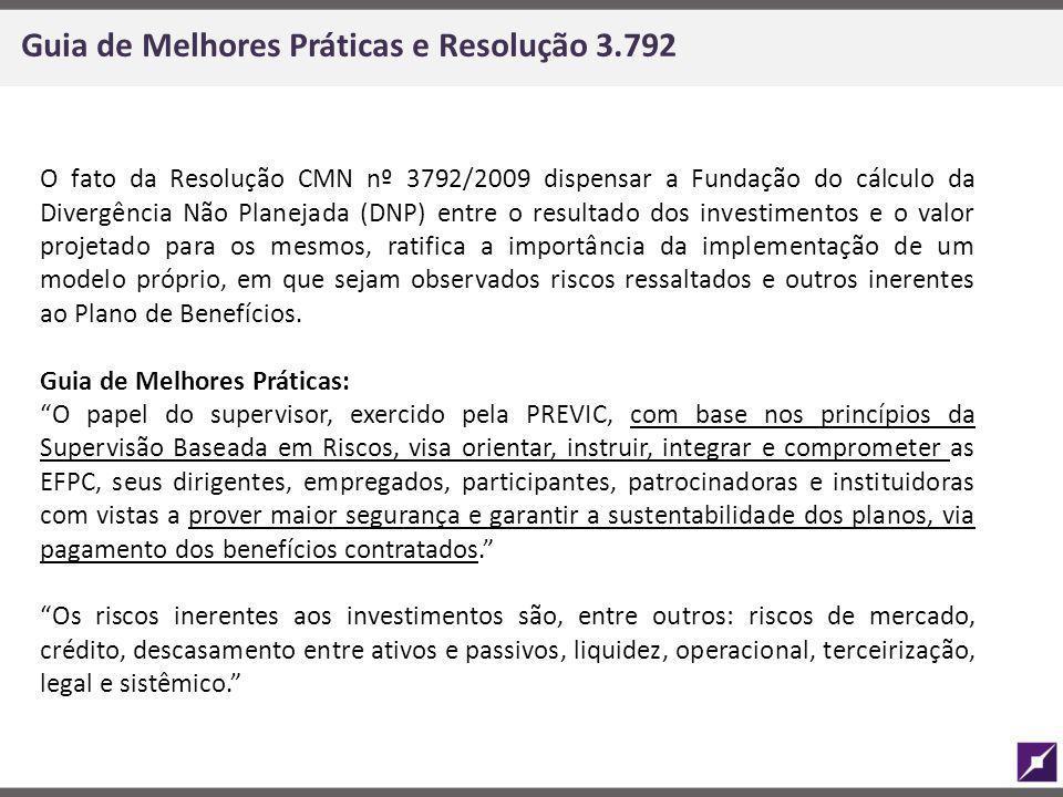 Guia de Melhores Práticas e Resolução 3.792 O fato da Resolução CMN nº 3792/2009 dispensar a Fundação do cálculo da Divergência Não Planejada (DNP) en