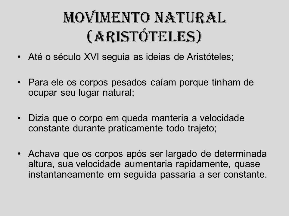Movimento Natural (Aristóteles) Até o século XVI seguia as ideias de Aristóteles; Para ele os corpos pesados caíam porque tinham de ocupar seu lugar n