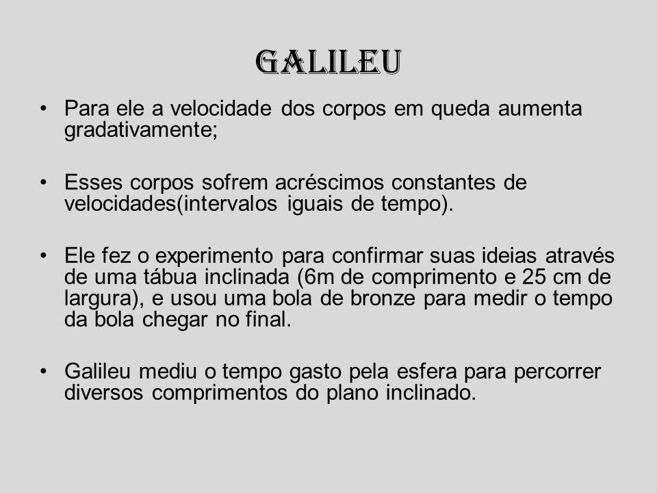 Galileu Para ele a velocidade dos corpos em queda aumenta gradativamente; Esses corpos sofrem acréscimos constantes de velocidades(intervalos iguais d