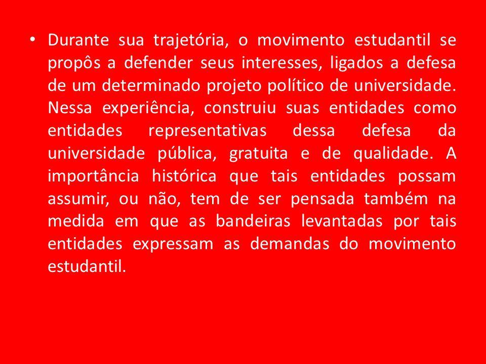 Durante sua trajetória, o movimento estudantil se propôs a defender seus interesses, ligados a defesa de um determinado projeto político de universida