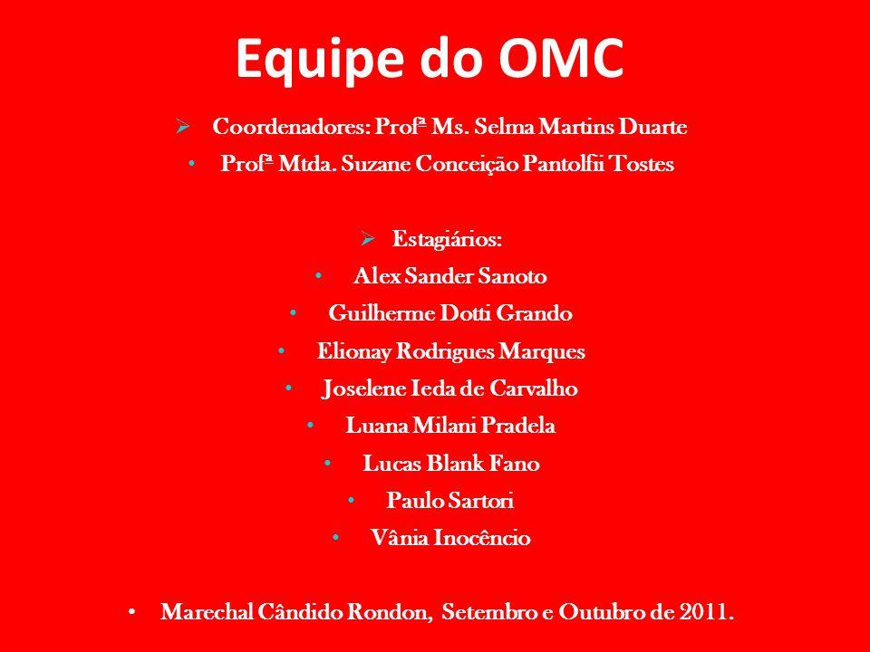 Equipe do OMC  Coordenadores: Profª Ms. Selma Martins Duarte Profª Mtda. Suzane Conceição Pantolfii Tostes  Estagiários: Alex Sander Sanoto Guilherm