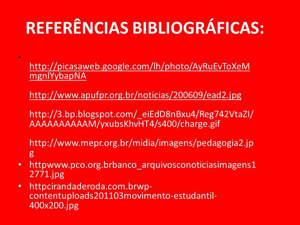 REFERÊNCIAS BIBLIOGRÁFICAS: http://picasaweb.google.com/lh/photo/AyRuEvToXeM mgnlYybapNA http://www.apufpr.org.br/noticias/200609/ead2.jpg http://3.bp
