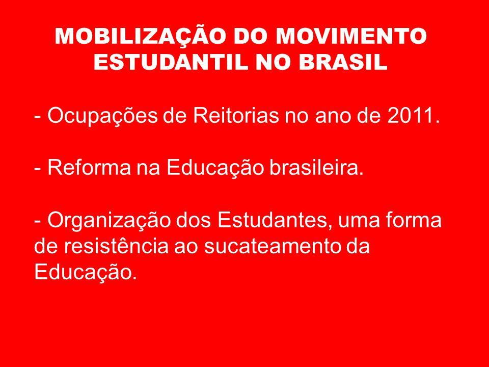 MOBILIZAÇÃO DO MOVIMENTO ESTUDANTIL NO BRASIL - Ocupações de Reitorias no ano de 2011. - Reforma na Educação brasileira. - Organização dos Estudantes,