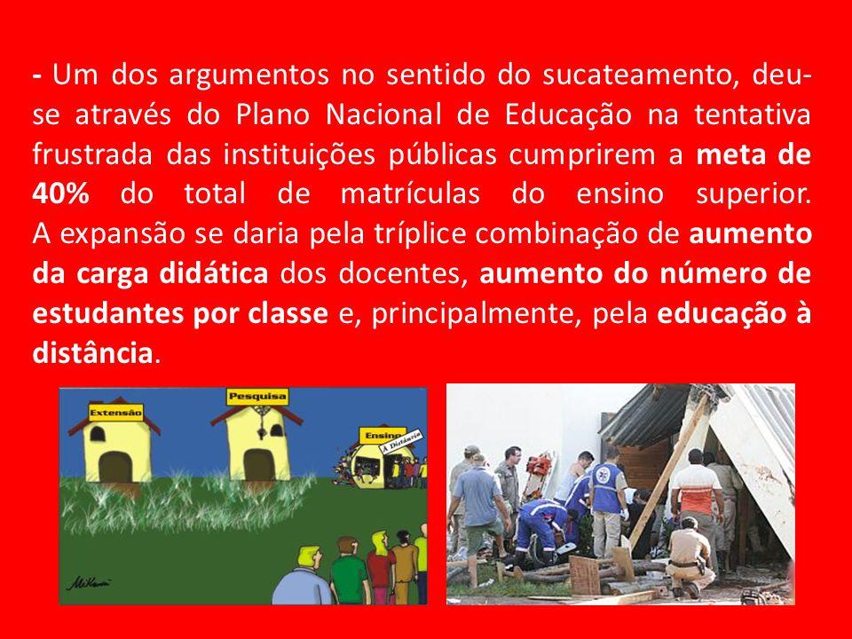 - Um dos argumentos no sentido do sucateamento, deu- se através do Plano Nacional de Educação na tentativa frustrada das instituições públicas cumprir