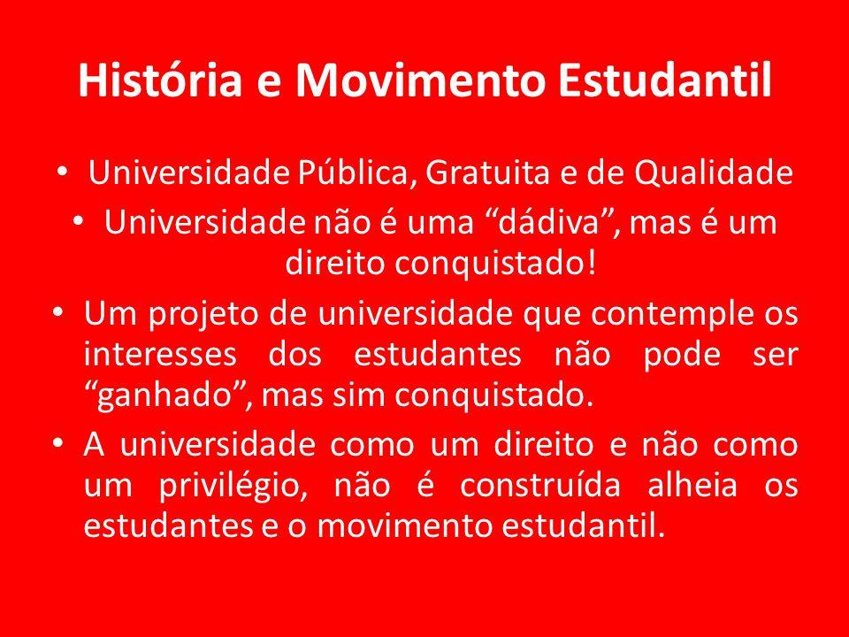 História e Movimento Estudantil Universidade Pública, Gratuita e de Qualidade Universidade não é uma dádiva , mas é um direito conquistado.