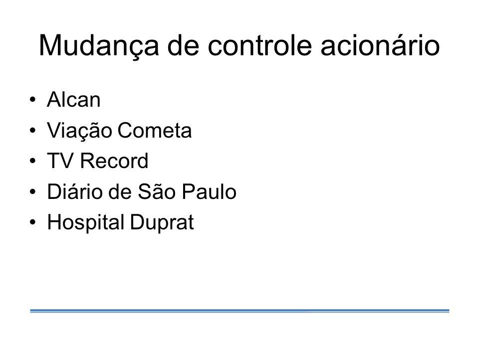 Mudança de controle acionário Alcan Viação Cometa TV Record Diário de São Paulo Hospital Duprat