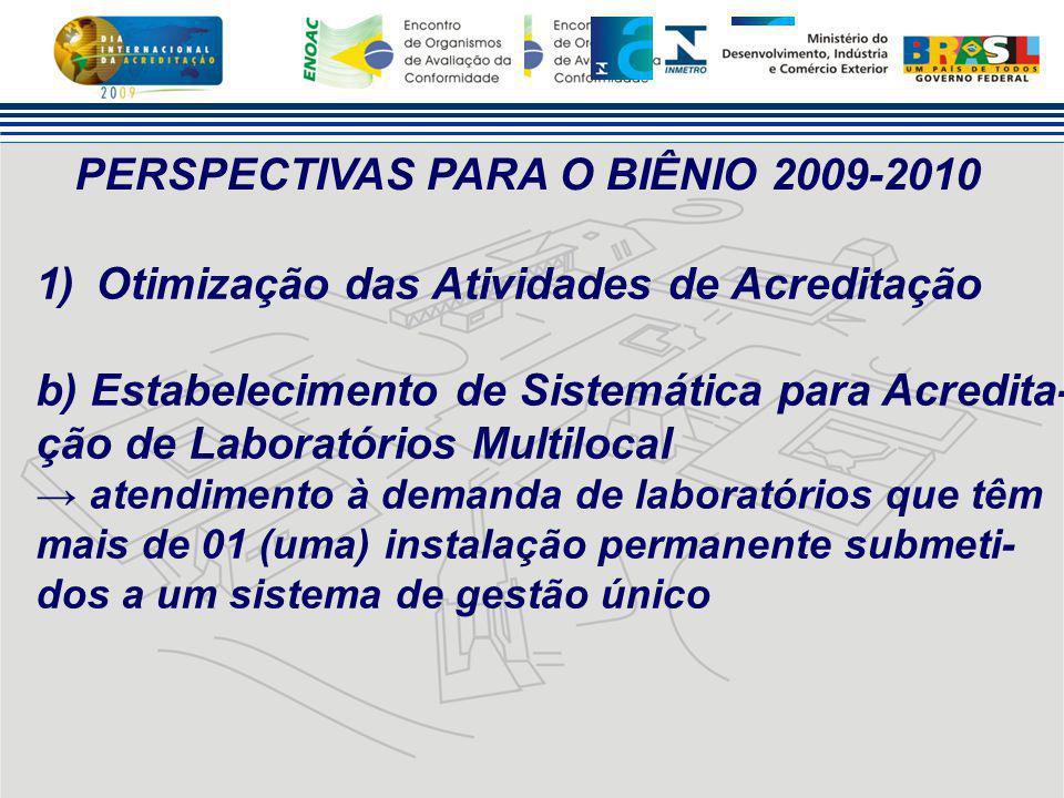 PERSPECTIVAS PARA O BIÊNIO 2009-2010 1)Otimização das Atividades de Acreditação b) Estabelecimento de Sistemática para Acredita- ção de Laboratórios M