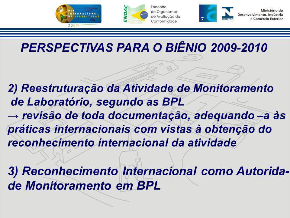 PERSPECTIVAS PARA O BIÊNIO 2009-2010 2) Reestruturação da Atividade de Monitoramento de Laboratório, segundo as BPL → revisão de toda documentação, ad