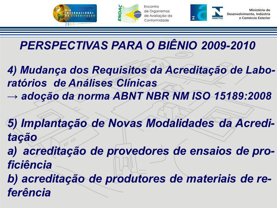PERSPECTIVAS PARA O BIÊNIO 2009-2010 4) Mudança dos Requisitos da Acreditação de Labo- ratórios de Análises Clínicas → adoção da norma ABNT NBR NM ISO