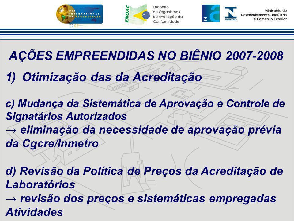 AÇÕES EMPREENDIDAS NO BIÊNIO 2007-2008 1)Otimização das da Acreditação c) Mudança da Sistemática de Aprovação e Controle de Signatários Autorizados →