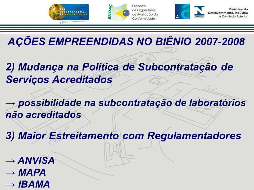 AÇÕES EMPREENDIDAS NO BIÊNIO 2007-2008 2) Mudança na Política de Subcontratação de Serviços Acreditados → possibilidade na subcontratação de laboratór