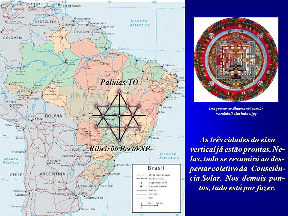 """A partir do eixo Palmas, Brasília e Ribeirão Preto, podemos montar a """"Grande Estrela"""" do Planalto Cen- tral Brasileiro. Imagem:www.dharmanet.com.br ma"""