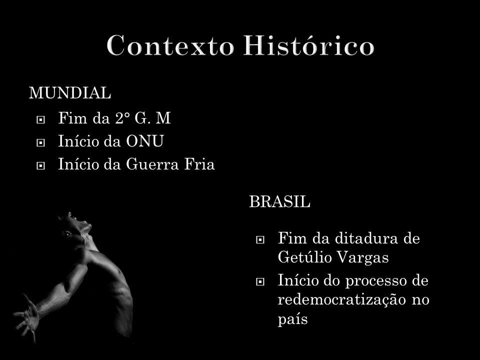 MUNDIAL BRASIL  Fim da 2° G. M  Início da ONU  Início da Guerra Fria  Fim da ditadura de Getúlio Vargas  Início do processo de redemocratização n