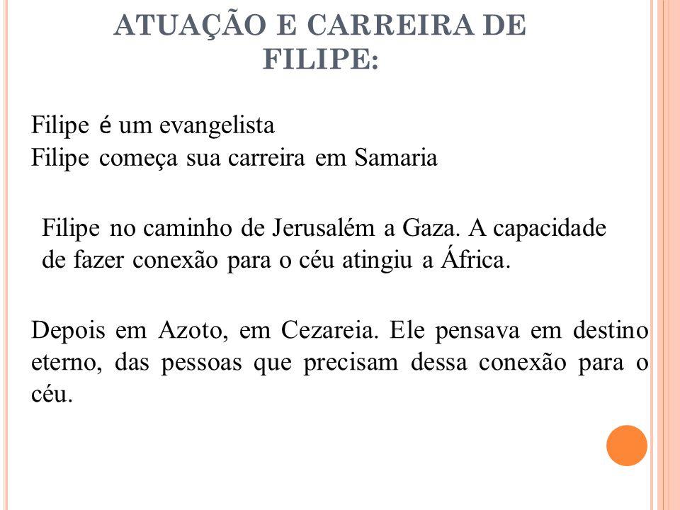 ATUAÇÃO E CARREIRA DE FILIPE: Filipe é um evangelista Filipe começa sua carreira em Samaria Filipe no caminho de Jerusalém a Gaza. A capacidade de faz