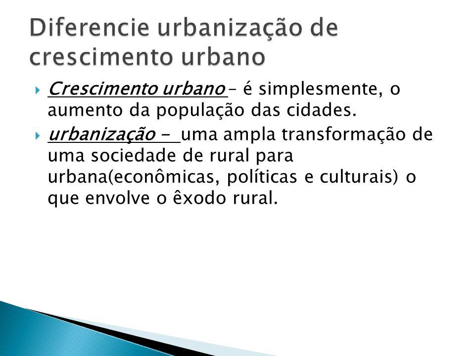  Crescimento urbano – é simplesmente, o aumento da população das cidades.