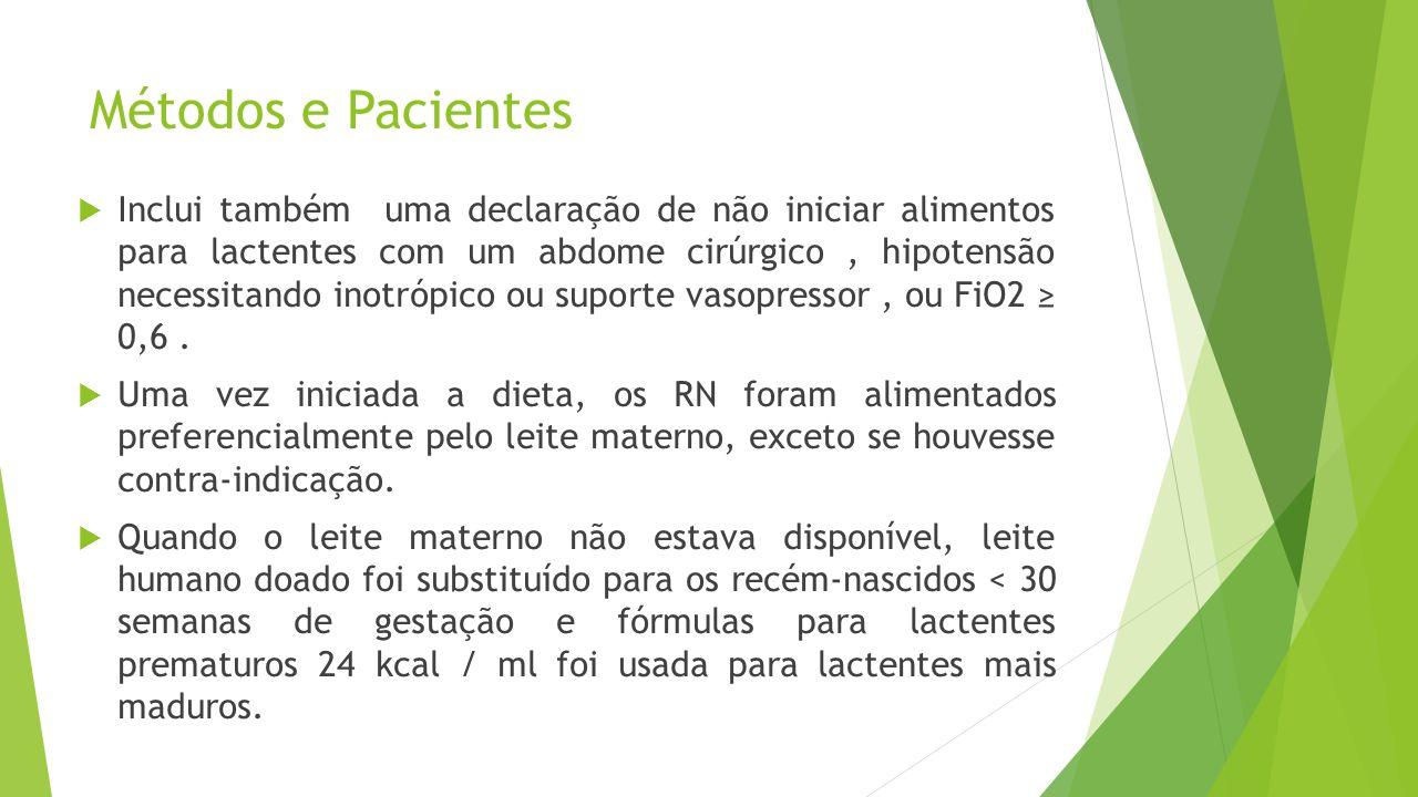 Métodos e Pacientes  Inclui também uma declaração de não iniciar alimentos para lactentes com um abdome cirúrgico, hipotensão necessitando inotrópico