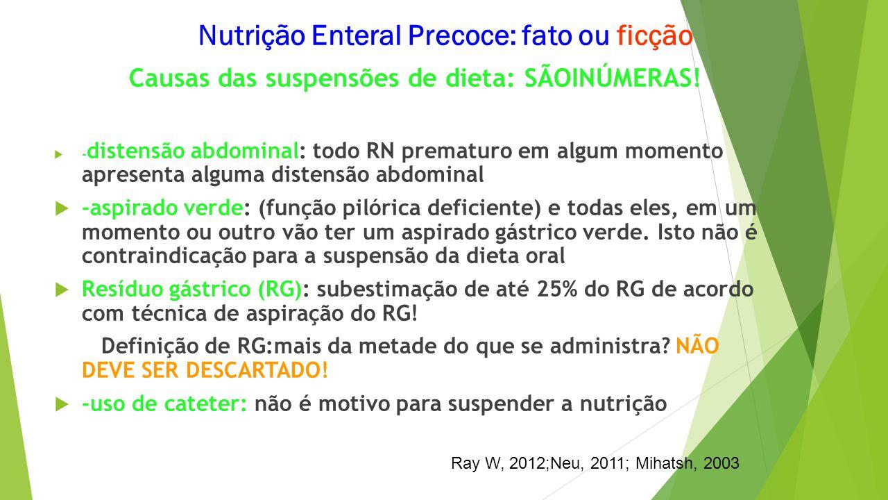 Causas das suspensões de dieta: SÃOINÚMERAS!  - distensão abdominal: todo RN prematuro em algum momento apresenta alguma distensão abdominal  -aspir