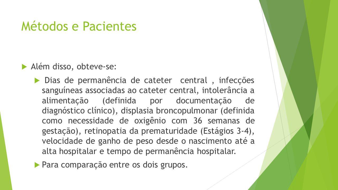 Métodos e Pacientes  Além disso, obteve-se:  Dias de permanência de cateter central, infecções sanguíneas associadas ao cateter central, intolerânci
