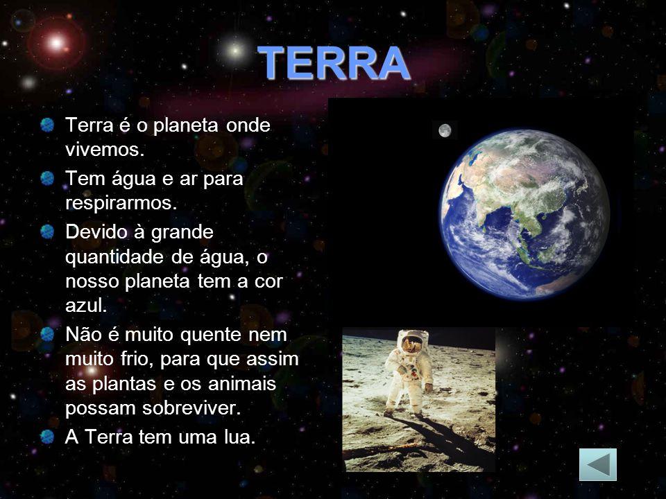 TERRA Terra é o planeta onde vivemos.Tem água e ar para respirarmos.