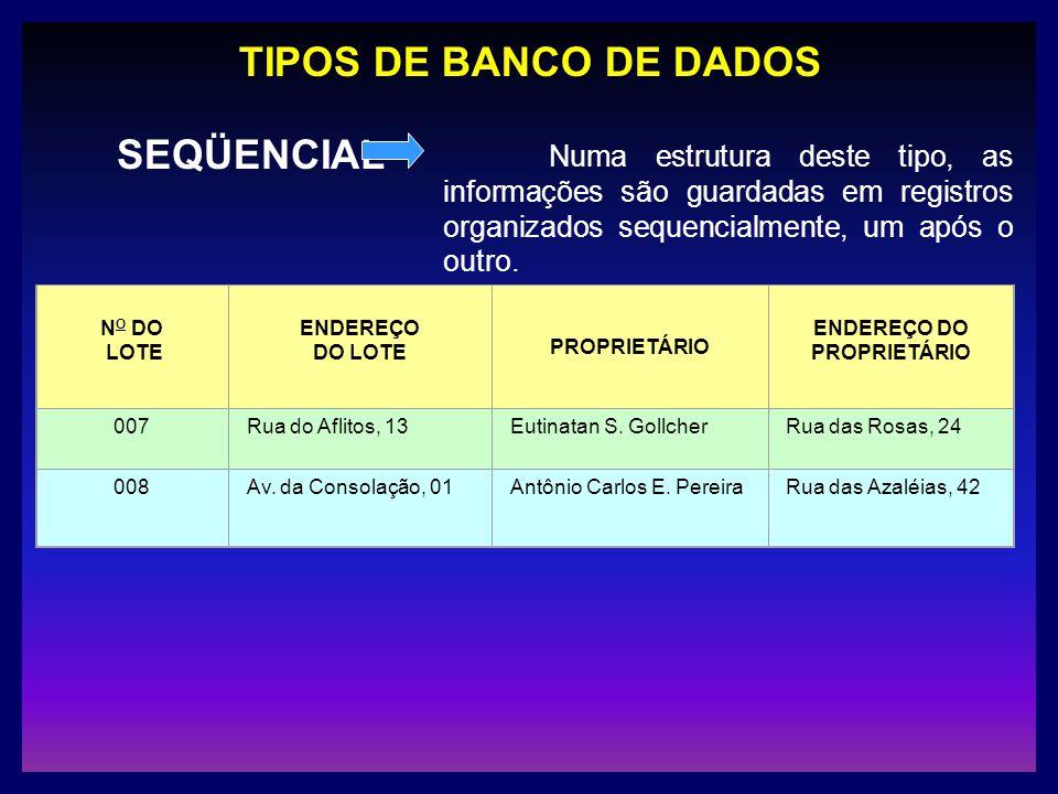 TIPOS DE BANCO DE DADOS SEQÜENCIAL Numa estrutura deste tipo, as informações são guardadas em registros organizados sequencialmente, um após o outro.