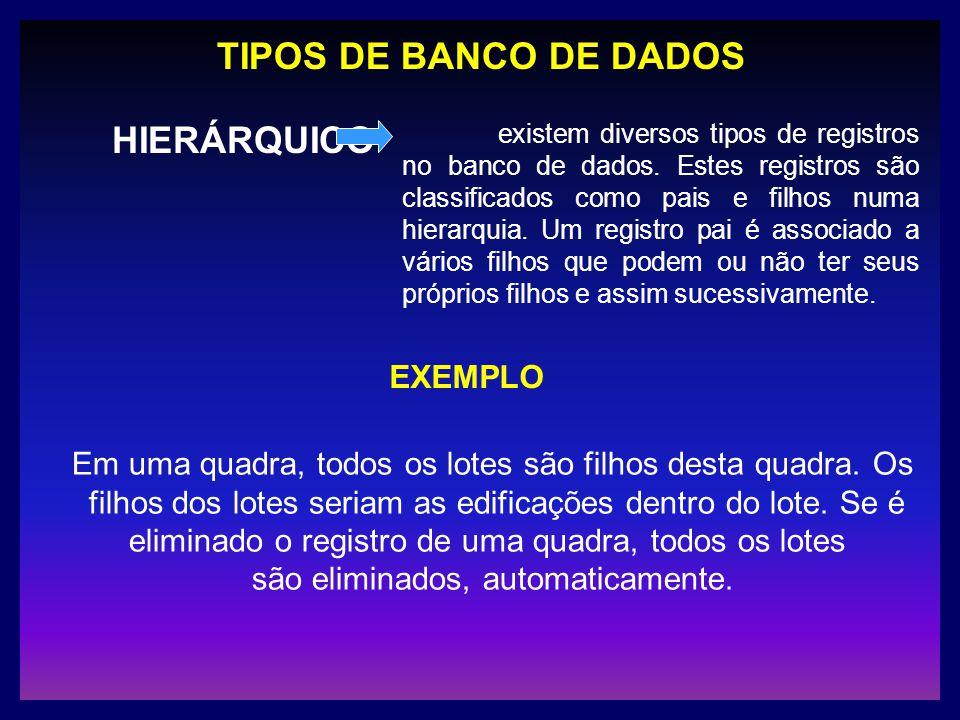 TIPOS DE BANCO DE DADOS HIERÁRQUICO existem diversos tipos de registros no banco de dados. Estes registros são classificados como pais e filhos numa h