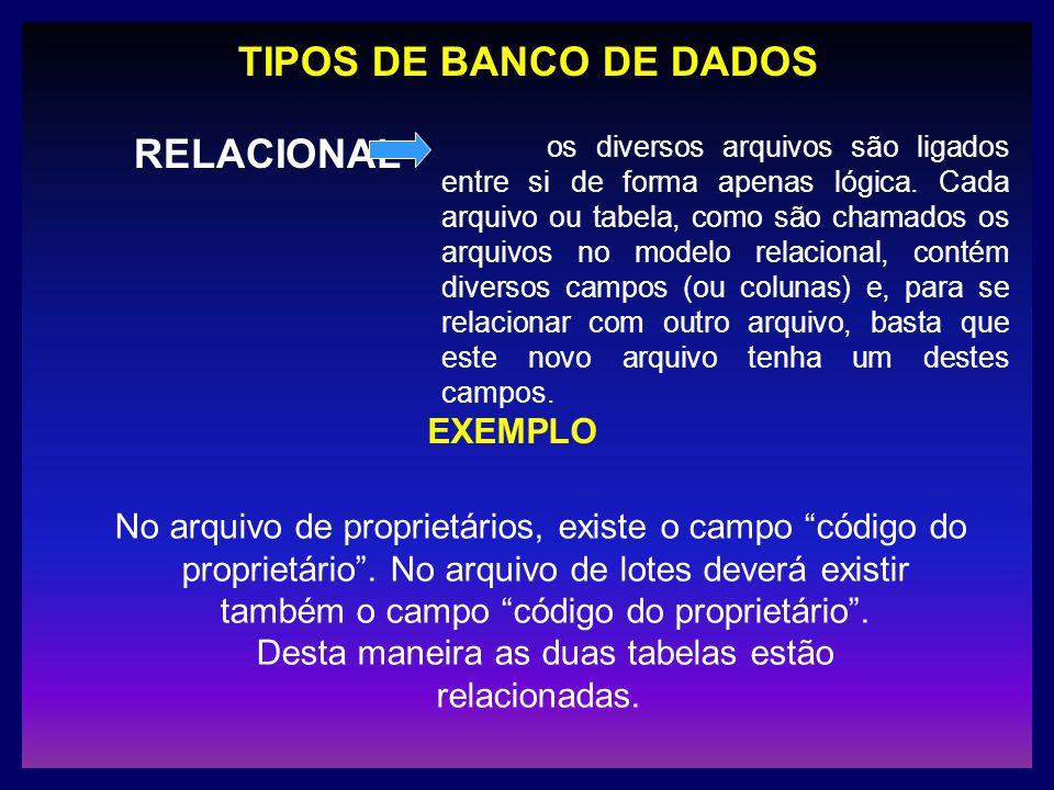 TIPOS DE BANCO DE DADOS RELACIONAL os diversos arquivos são ligados entre si de forma apenas lógica. Cada arquivo ou tabela, como são chamados os arqu