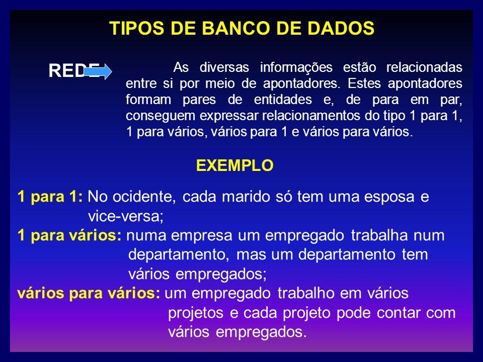 TIPOS DE BANCO DE DADOS REDE As diversas informações estão relacionadas entre si por meio de apontadores. Estes apontadores formam pares de entidades