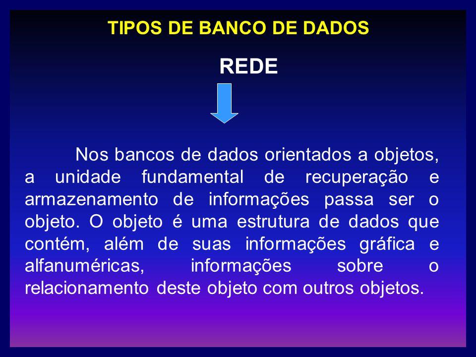 TIPOS DE BANCO DE DADOS Nos bancos de dados orientados a objetos, a unidade fundamental de recuperação e armazenamento de informações passa ser o obje