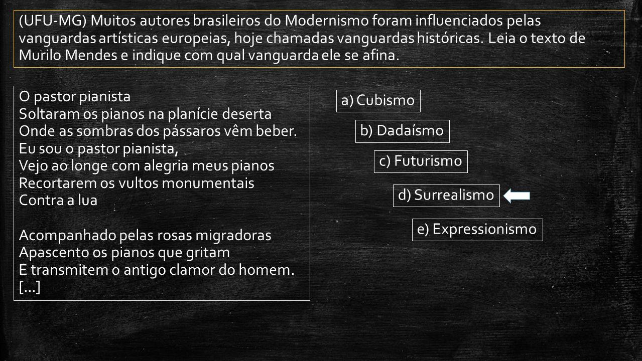 (UFU-MG) Muitos autores brasileiros do Modernismo foram influenciados pelas vanguardas artísticas europeias, hoje chamadas vanguardas históricas. Leia