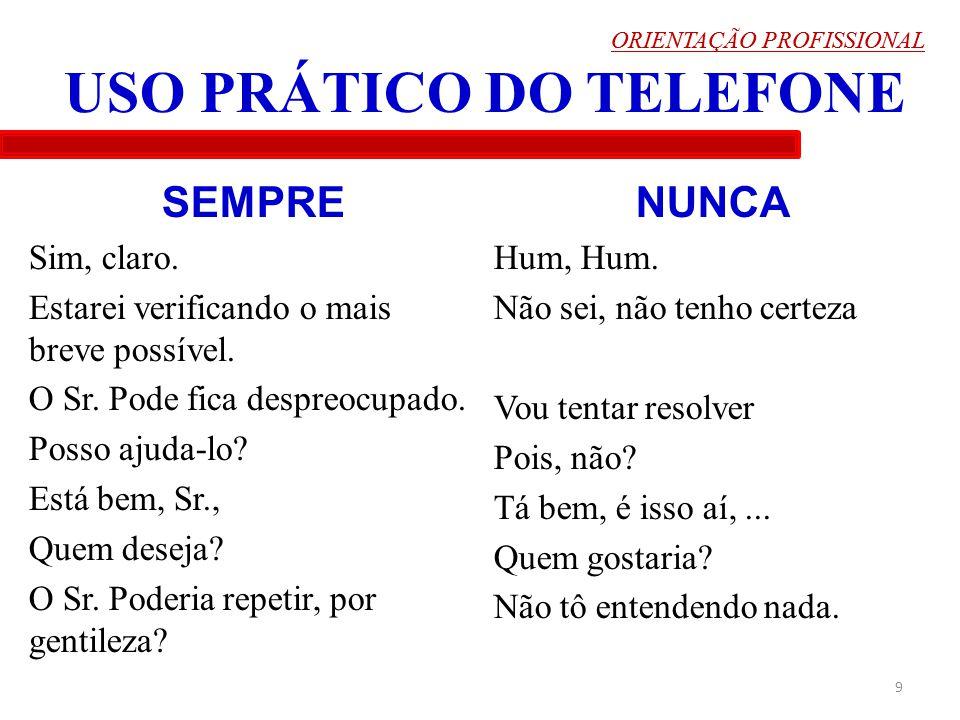 ORIENTAÇÃO PROFISSIONAL 10 USO PRÁTICO DO TELEFONE -Muitos saem bem pessoalmente, mas ao telefone....