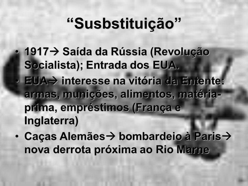 """""""Susbstituição"""" 1917  Saída da Rússia (Revolução Socialista); Entrada dos EUA.1917  Saída da Rússia (Revolução Socialista); Entrada dos EUA. EUA  i"""