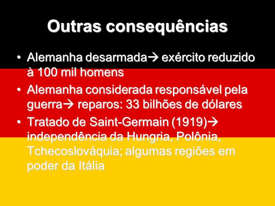 Outras consequências Alemanha desarmada  exército reduzido à 100 mil homensAlemanha desarmada  exército reduzido à 100 mil homens Alemanha considera