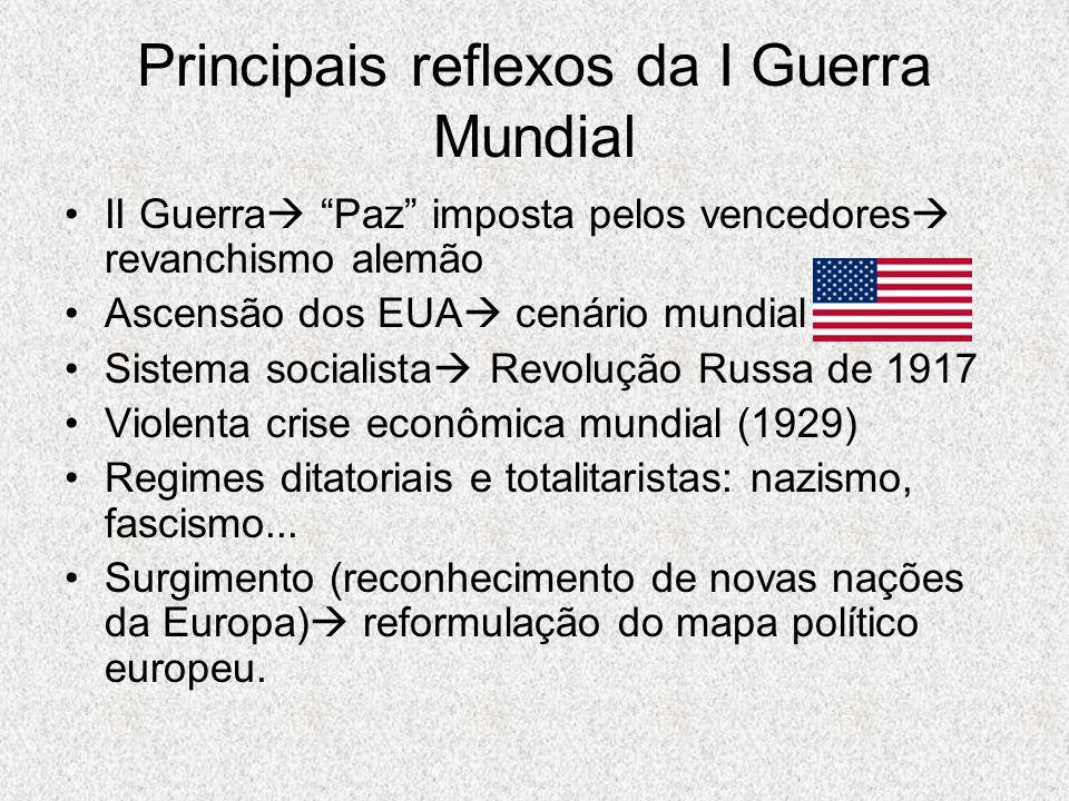 """Principais reflexos da I Guerra Mundial II Guerra  """"Paz"""" imposta pelos vencedores  revanchismo alemão Ascensão dos EUA  cenário mundial Sistema soc"""