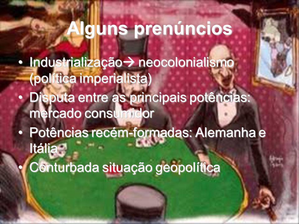 Alguns prenúncios Industrialização  neocolonialismo (política imperialista)Industrialização  neocolonialismo (política imperialista) Disputa entre a